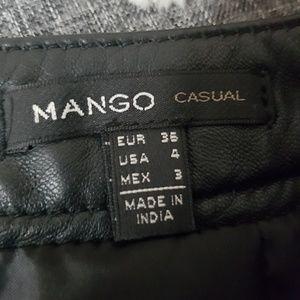Mango Skirts - Mango Sheep Leather Black Mini Skirt